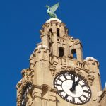 Liver Building Liverpool against blue sky : Copyright Duncan Reid : Dakesart.co.uk